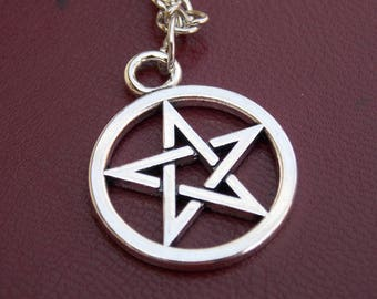 Pentagram Pentacle star necklace, silver necklace, gothic star necklace, punk rock necklace, cool gift, gift idea, expensive gift