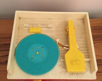 Vintage Wind Up Toy Fisher Price Music Box Record Player