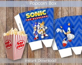 Sonic Popcorn Box Printable Sonic Popcorn Box Sonic Birthday Theme Sonic NSTANT DOWNLOAD