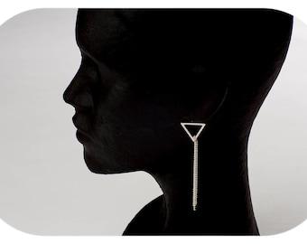 Geometric long earrings handmade in silver law