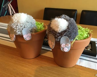 Handmade pompom rabbits in a plant pot, easter gift,birthday gift