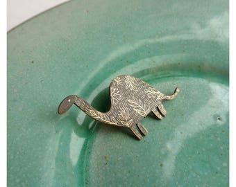 """Brass brooch """"Dinosaur"""""""