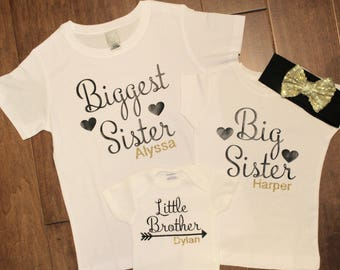 Biggest Sister shirt, Big Sister Shirt, Little brother bodysuit,  Biggest Sister, Big Sister, Little Brother,New baby,Pregnancy Reveal shirt