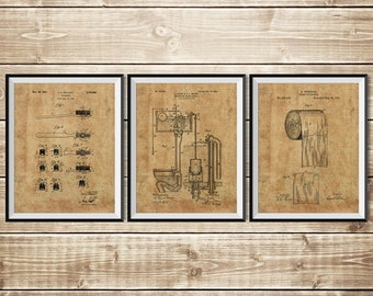 Toilet Sign, Patent Print Group, Bathroom Art Poster, Toilet Art Print, Patent Print Set, Toilet Paper Poster, Bathroom, INSTANT DOWNLOAD