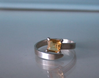 Citrine sterling silver adjustable ring