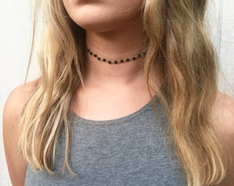 Black Bead & Chain Choker- Black Rosary Choker, Black Beaded Choker, Thin Chain Choker, Black Bead Rosary Chain Choker, Black Rosary (A23)