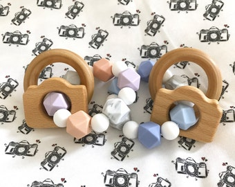 Newborn Photographer PACKAGE! CAMERA Boy or Girl or Gender Neutral Silicone Teether with Wooden Ring Rattles   Client Photography Gift