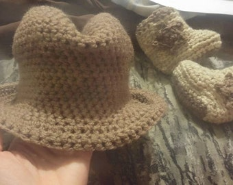 Newborn cowboy hat and booties