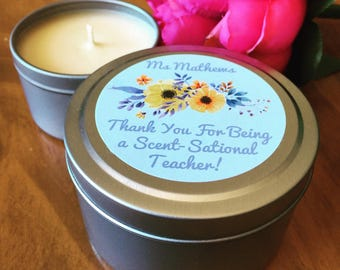 Soy Candle | Personalised Teachers Gift - Scent-Sational Yellow Flowers