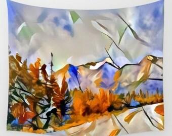 Mountain Tapestry, Highway Tapestry, Yukon Tapestry, Alaska Tapestry, Orange Tapestry, Blue Tapestry, Photo Tapestry, Travel Tapestry, Art