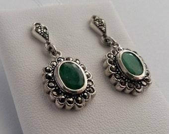 Silver Earrings with Gemstones Gloria, Emerald Earrings, Green Earrings, Ruby, Sapphire, Marcasite Earrings with Gemstone, Gift Idea