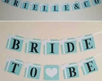 Set of 2-Robins Egg Blue Bridal Shower Banner Pack Bride and co She Said Yes Darlings Bride To Be