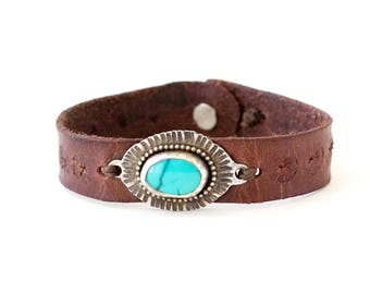 Turquoise and Floral Embossed Leather Cuff #1