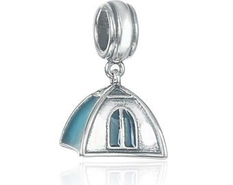 Camping Tent Charm - 925 Sterling Silver Pendant - Gift Packed