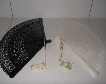 Vintage Black & White Celluloid Hand Fans