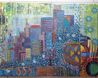 Acrylic painting canvas 70 x 50 x 2 houses landscape abstract painting