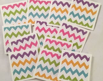 "12 Mini Note Cards & Envelopes 3"" x 3"" Chevron Thank You Gift Notes Love N043"