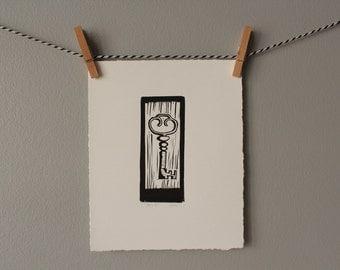key print, vintage key, linocut, original art, black and white key print,