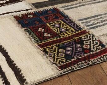 Turkish Patchwork Kilim ,Rug ,Carpet ,AnatolianPatchwork -wool rug-Handmade,120x180 cm=2.16m2