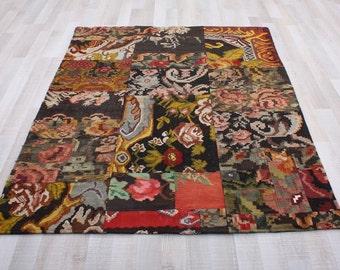 Turkish Patchwork Kilim ,Rug ,Carpet ,Anatolian Besarabian,Karabag Kilim Patchwork -wool rug-Handmade,  148x196=2.90m2