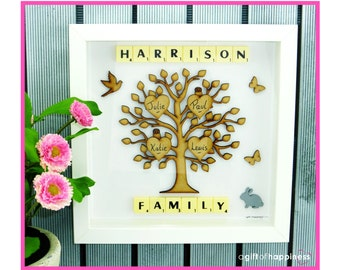 Family tree picture frame Family tree scrabble art Family tree gift family tree present Valentines wife gift for parents Birthday present