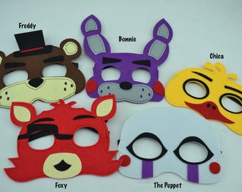 Five Nights at Freddy's Felt Mask - Birthday Party Favor. Great for Child Kids Boy Girl Toddler Costume Outfit. Freddy Chica Bonnie Foxy