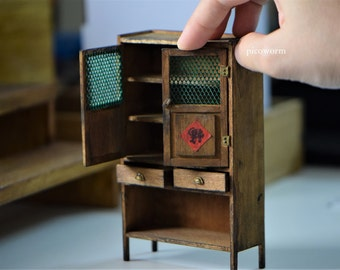 Miniature wooden cupboard old village dollhouse furniture - handmade in 1/12 scale