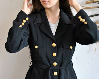 Classic black coat 1990s 1980s womens vintage jacket with belt