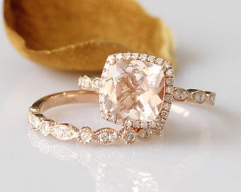 Bridal Ring Set 7mm Cushion Cut Morganite Ring Rose Gold Morganite Engagement Ring Rose gold ring Morganite Wedding Ring 14k Rose Gold Ring