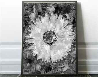Modern Flower Print, Daisy Flower Art ,botanical print, Black and White, botanical, Home decor, botanical wall art, Daisy Print, Large Print