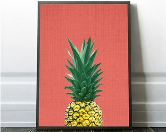 Pineapple Print, Tropical Fruit Wall Art, Colourful, Instant Download, Modern Minimal, Coral Pink, Pineapple Decor, Fruit Art, Fruit Prints
