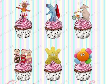 24x In The Night Garden Stand-Up, Pre-Cut, Wafer Paper Cupcake Toppers