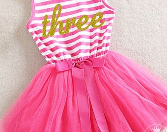 Third birthday three year old baby girls tutu dress party outfit 3rd bday, birthday dress, Hot Pink and Gold