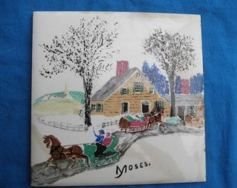 Vintage Grandma Moses Art Tile Winter Scene home decor  Collectible Wall hanging