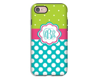 iPhone 7 case, polka dot monogram iPhone 7 Plus case, iPhone 6s case, iPhone 6s Plus case, SE case, iPhone cases for girls, 3D iPhone case