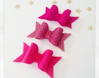Felt & Glitter Bow Set, Pink Bow Hair Grips, Hair Grips, Bow Slides, Hair Slides