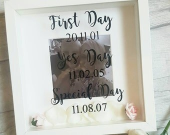 First day, yes day, special/best day couples frame. Wedding, Engagement,Anniversary gift, wall decor, personalised frame, marriage