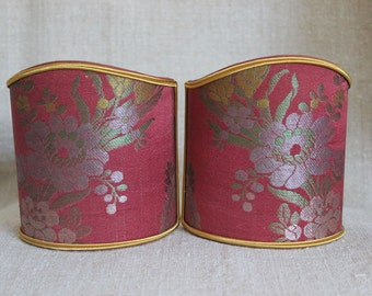 Two clip-on half shades for wall sconces 19th century French silk