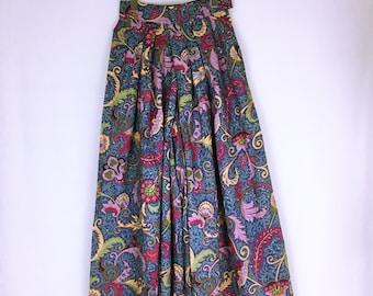 90's vintage Kenzo oriental textile wide gaucho pants