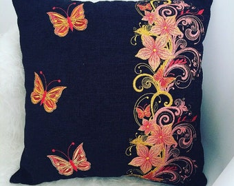 "Stunning decorative black chenille embroidered handmade cushion cover home decor 18 x 18"" original floral butterfly design  art gift  style"