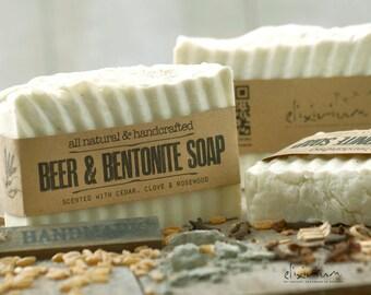 BEER SOAP BENTONITE~Mens  Soap~Hair soap~Organic Soap for him~natural soap~organic skin care~Father's gift~Husband gift~Boyfriend gift