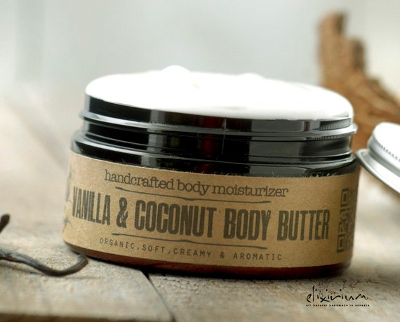 Vanilla Coconut BODY BUTTER Organic~organic body moisturizer~organic body hydration~organic skin care~whipped butter~natural body butter