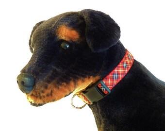 Large Red/Black Plaid Adjustable Dog Collar