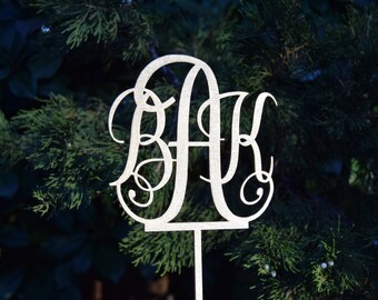 Cake topper Personalized monogram Wedding Cake Topper Wedding Cake Decor Keepcake Wedding  cake topper Champagne cake Topper
