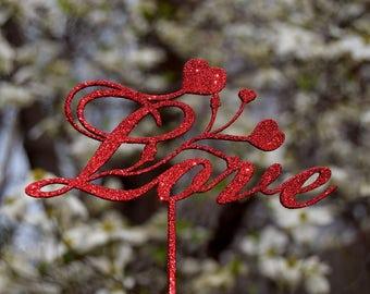 LOVE cake topper Wedding Valentine's Day Cake Topper Cupcake Topper Anniversary topper Heart Topper Love sign