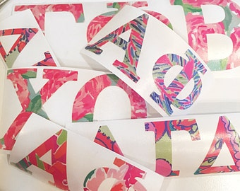 Lilly pulitzer inspired sorority paddle for Lilly pulitzer sorority letters