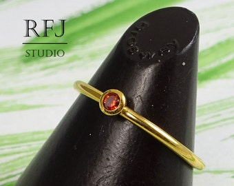 Lab Garnet Dainty Gold Plated Ring, 24K Yellow Gold Plated January Birthstone Ring, Dark Red 2 mm Cubic Zirconia Gold Ring, Gold Garnet Ring