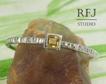 Square Natural Citrine Textured Silver Ring, November Birthstone Square Setting Ring Princess Cut 2x2 mm Yellow Citrine Stacked Promise Ring