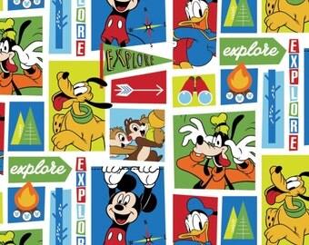 Disney Fabric, Disney Mickey Fabric: Mickey and friends- Explore Everywhere Blocks 100% cotton Fabric by the yard  SC554