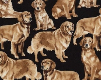 """Dog Fabric: Timeless Treasures Brown Golden Retrievers Packed on Black 100% cotton Fabric by the yard 36""""x43""""  (K238)"""